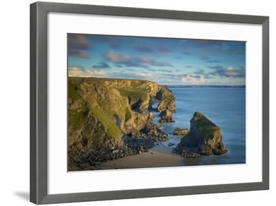 Sunset over the Bedruthan Steps Along the Cornwall Coast, England-Brian Jannsen-Framed Photographic Print