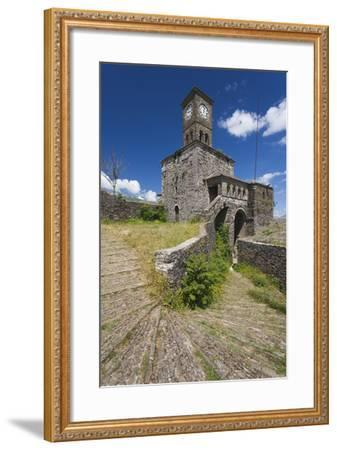 Albania, Gjirokastra, Castle Clock Tower-Walter Bibikow-Framed Photographic Print