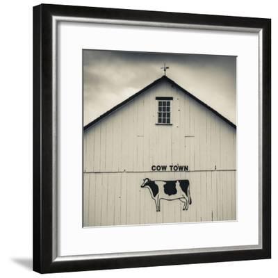 USA, Pennsylvania, Dutch Country, Smoketown, Barn with Cow Art-Walter Bibikow-Framed Photographic Print