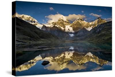 Mount Yerupaja Reflects in Lake Huayhuish, Andes Mountains, Peru-Howie Garber-Stretched Canvas Print