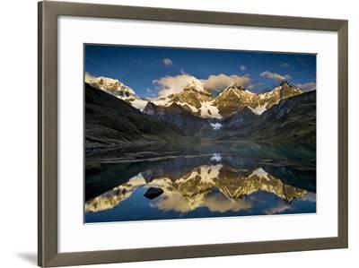 Mount Yerupaja Reflects in Lake Huayhuish, Andes Mountains, Peru-Howie Garber-Framed Photographic Print