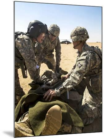 Soldiers Prepare to Load a Wounded Soldier onto a Uh-60 Black Hawk--Mounted Photographic Print