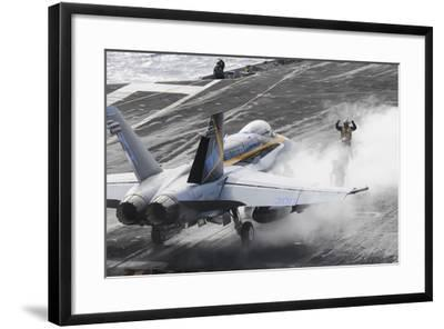Sailors Prepare an F-A-18C Hornet to Launch from USS Nimitz--Framed Photographic Print