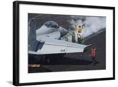 Sailors Prepare an F-A-18F Super Hornet for Launch--Framed Photographic Print