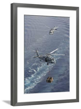 Two Mh-60S Sea Hawk Helicopters Transport Supplies--Framed Photographic Print