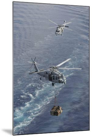 Two Mh-60S Sea Hawk Helicopters Transport Supplies--Mounted Photographic Print