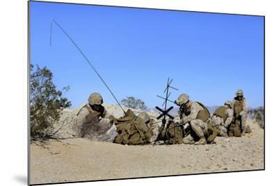 U.S. Marines Setup Communication Equipment and Conduct Radio Checks--Mounted Photographic Print