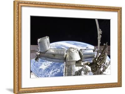 Part of the International Space Station in Orbit Above Earth--Framed Photographic Print