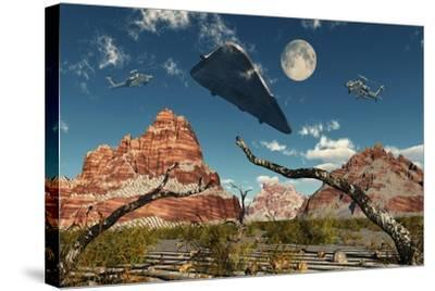 A Pair of Ah-64 Apache Black Ops Helicopters Chasing a Ufo--Stretched Canvas Print