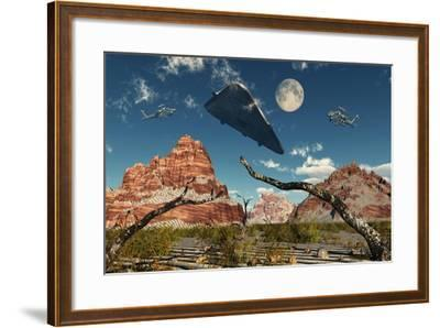 A Pair of Ah-64 Apache Black Ops Helicopters Chasing a Ufo--Framed Art Print