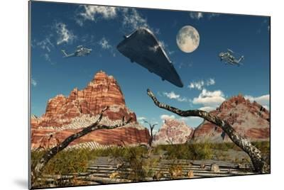 A Pair of Ah-64 Apache Black Ops Helicopters Chasing a Ufo--Mounted Art Print