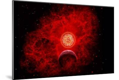 A Supernova Destroying Itself and its Planets--Mounted Art Print