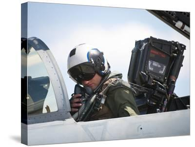 Naval Aviator Performs Pre-Flight Checks on an F-A-18C Hornet--Stretched Canvas Print