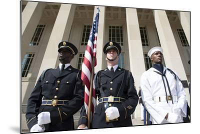 Members of the Honor Guard Stand at Attention in Front of the Pentagon--Mounted Photographic Print