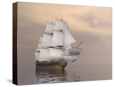 Beautiful Old Merchant Ship Sailing on Quiet Waters--Stretched Canvas Print