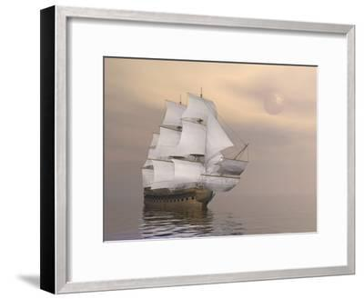 Beautiful Old Merchant Ship Sailing on Quiet Waters--Framed Art Print