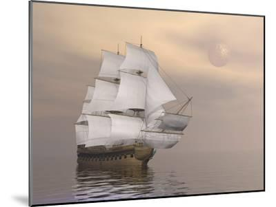 Beautiful Old Merchant Ship Sailing on Quiet Waters--Mounted Art Print