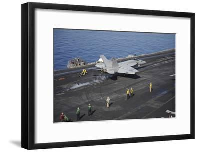 An F-A-18E Super Hornet Launches from USS Nimitz--Framed Photographic Print