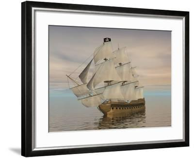 Pirate Ship with Black Jolly Roger Flag Sailing the Ocean--Framed Art Print