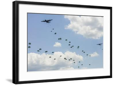 A C-130 Hercules Drop U.S. Army Airborne Troops over Maryland--Framed Photographic Print