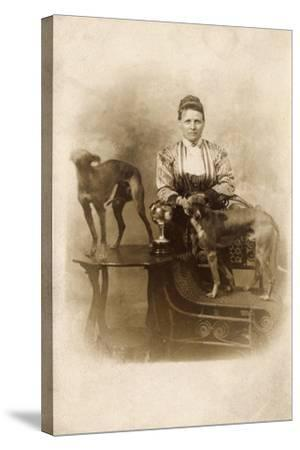 Woman with Two Greyhounds--Stretched Canvas Print