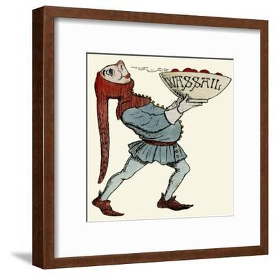 Jester Carrying a Wassail Bowl--Framed Giclee Print