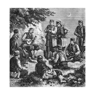 Montenegrin Soldiers Singing Warsongs--Framed Giclee Print