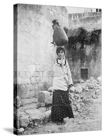 Water Carrier, Palestine--Stretched Canvas Print