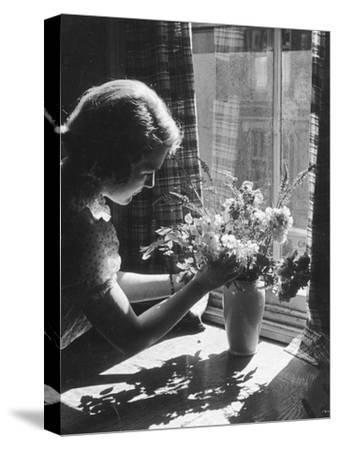 Arranging Flowers--Stretched Canvas Print
