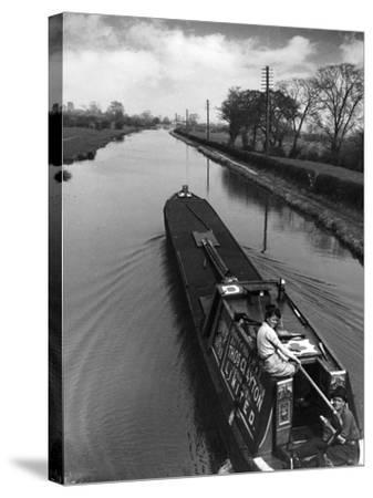 Canal Barge Couple--Stretched Canvas Print