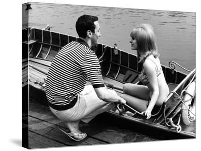 Couple Hire a Rowboat--Stretched Canvas Print