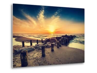 Vintage Retro Photo of Beach at Sunset.-Maciej Bledowski-Metal Print