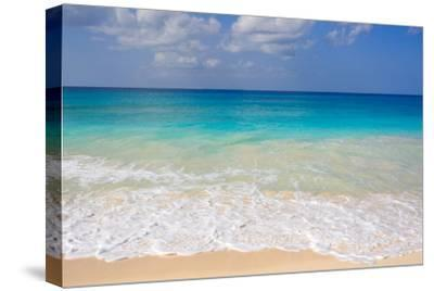 Blue Ocean and White Water Crashing on the Sand.-Alberto Guglielmi-Stretched Canvas Print