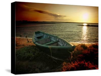 Low Tide and Boat-julioc-Stretched Canvas Print