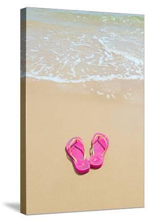 Flip Flops on a Sandy Beach-Kathy Collins-Stretched Canvas Print