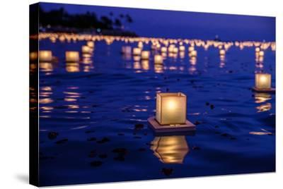 Japanese Floating Lanterns-Julie Thurston-Stretched Canvas Print