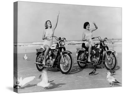 Beach Bikers-Fox Photos-Stretched Canvas Print