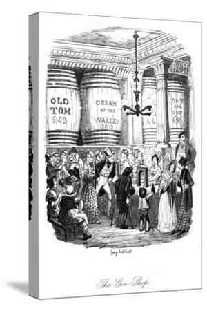 Social, Gin Shop 1836-George Cruikshank-Stretched Canvas Print