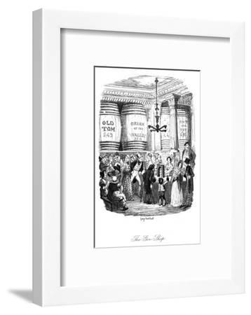Social, Gin Shop 1836-George Cruikshank-Framed Giclee Print