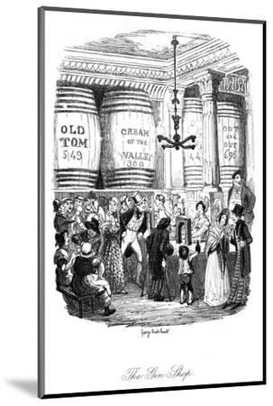 Social, Gin Shop 1836-George Cruikshank-Mounted Giclee Print
