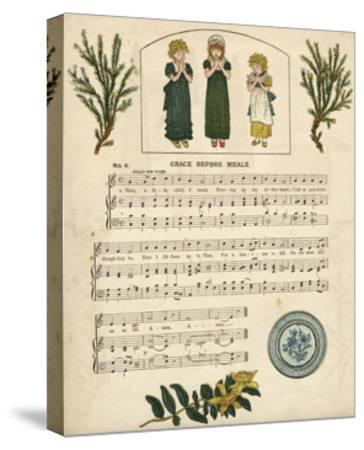 Illustration with Music, Grace before Meals-Kate Greenaway-Stretched Canvas Print