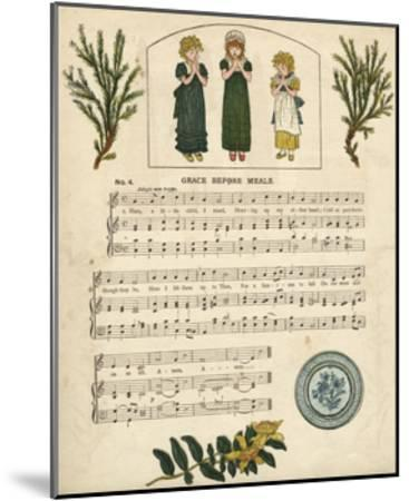 Illustration with Music, Grace before Meals-Kate Greenaway-Mounted Giclee Print