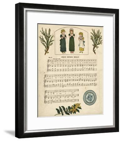 Illustration with Music, Grace before Meals-Kate Greenaway-Framed Giclee Print
