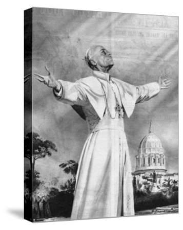 Vision of Pius XII-Rino Ferrari-Stretched Canvas Print