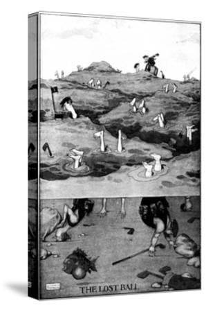 The Lost Ball - Heath Robinson Cartoon-William Heath Robinson-Stretched Canvas Print