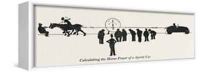 Calculating Horse Power-William Heath Robinson-Framed Stretched Canvas Print