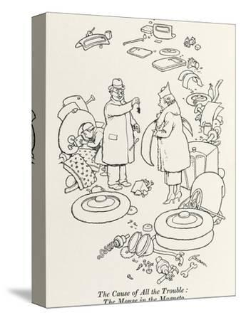 Car Trouble-William Heath Robinson-Stretched Canvas Print