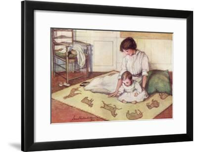 Mother and Baby with Crawling Rug--Framed Giclee Print