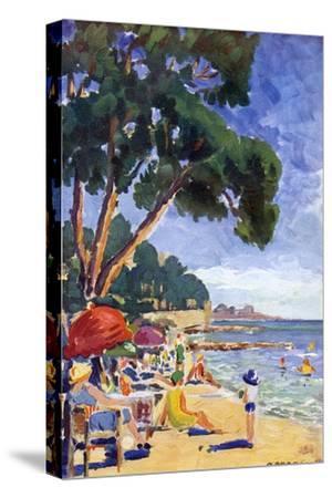 Beach Scene at Juan-Les-Pins--Stretched Canvas Print