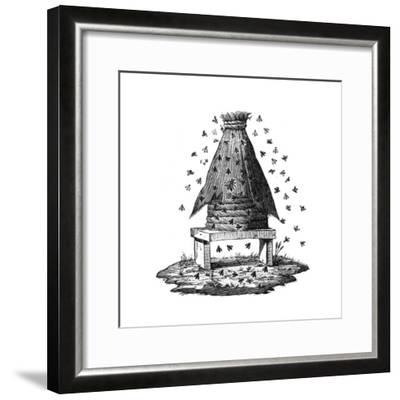 Beehive and Bees--Framed Giclee Print